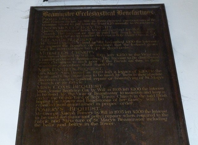 St Mary, Beaminster: ecclesiastical benefactions