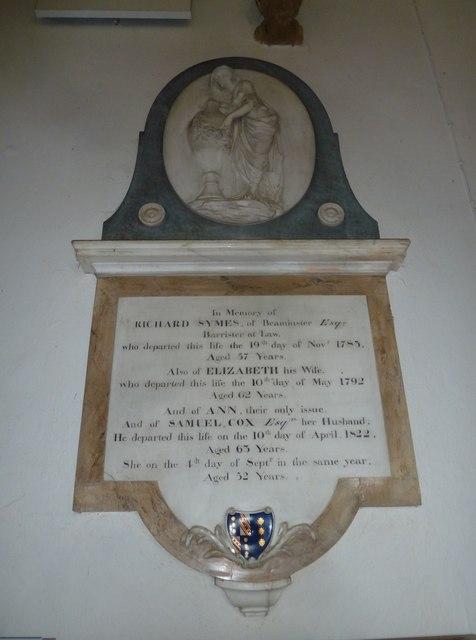 St Mary, Beaminster: memorial (IV)