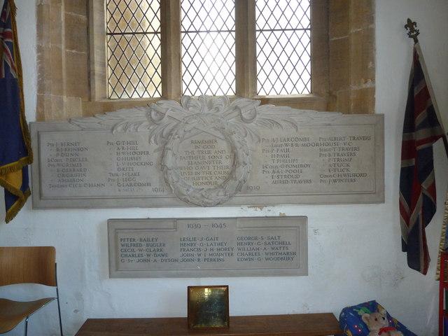 St Mary, Beaminster: war memorials