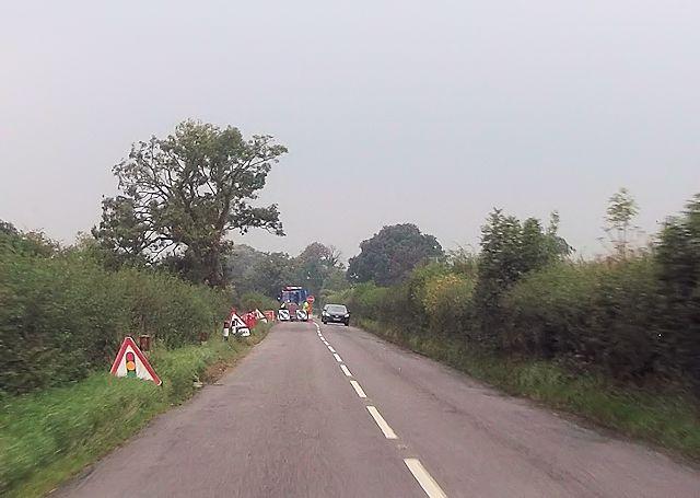 Road works east of Little Worthen
