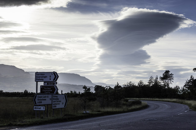 Road signs and clouds