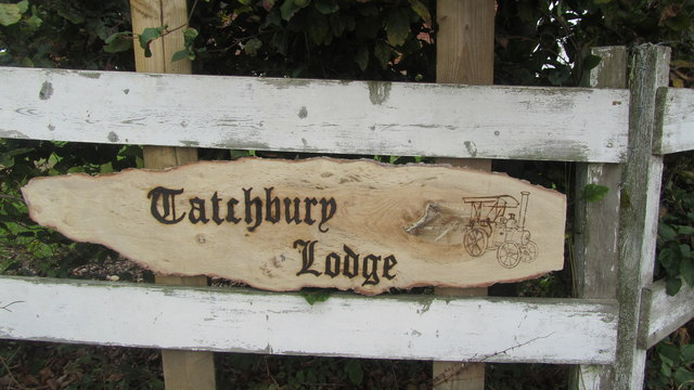 Tatchbury Lodge sign with the engraved steam roller