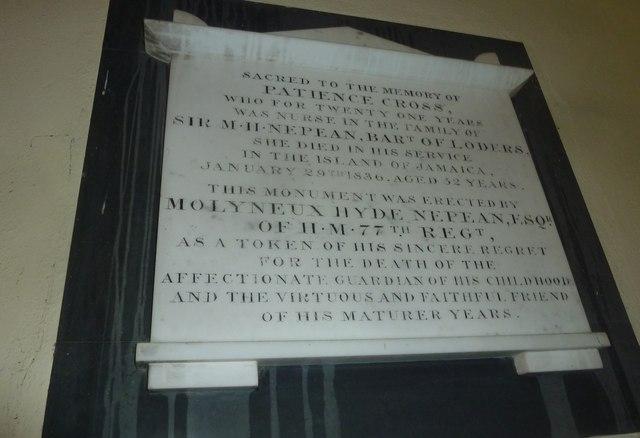 St Mary Magdalene, Loders: memorial (3)