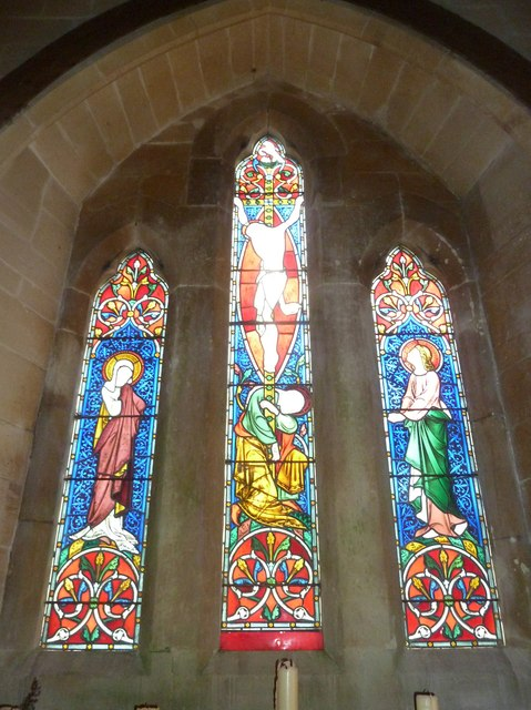 St. Mary Magdalene, North Poorton: stained glass window above the altar