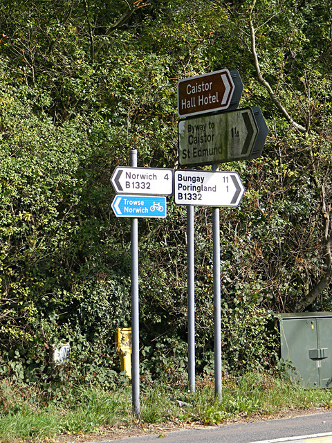 Roadsigns on the B1332 Norwich Road