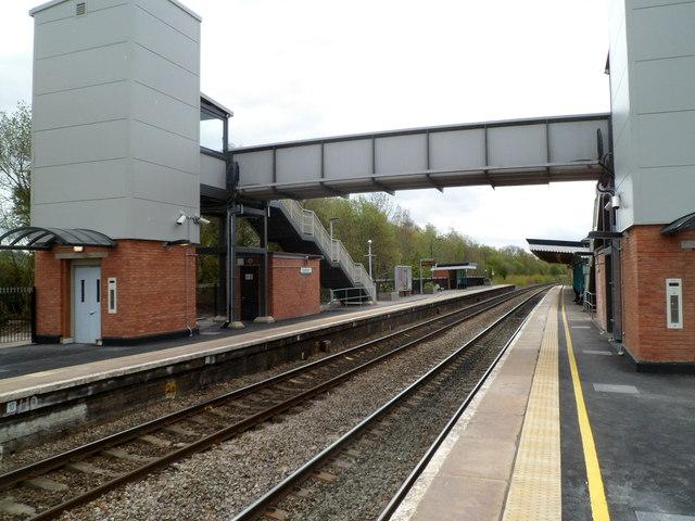 Modern footbridge at Leominster railway station