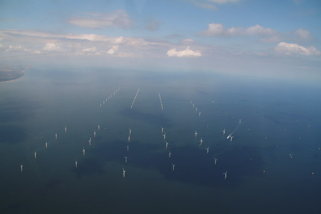 Lynn and Inner Dowsing Wind Farm under construction: aerial 2012