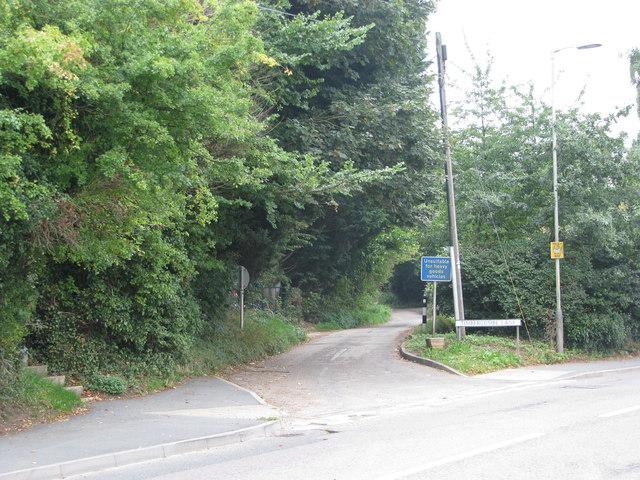 The bottom of Timbercombe Lane