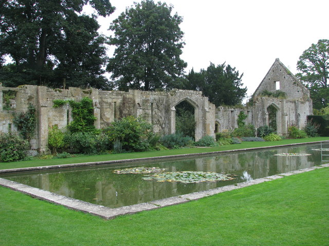 The lily pond and the remains of the Tythe Barn at Sudeley Castle