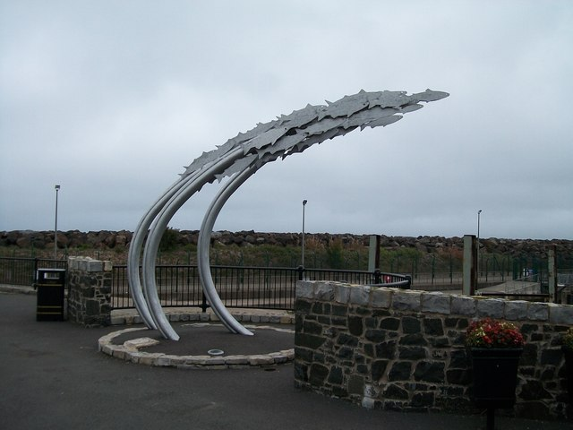 """The Leap of Faith"" sculpture at Ballycastle Harbour"