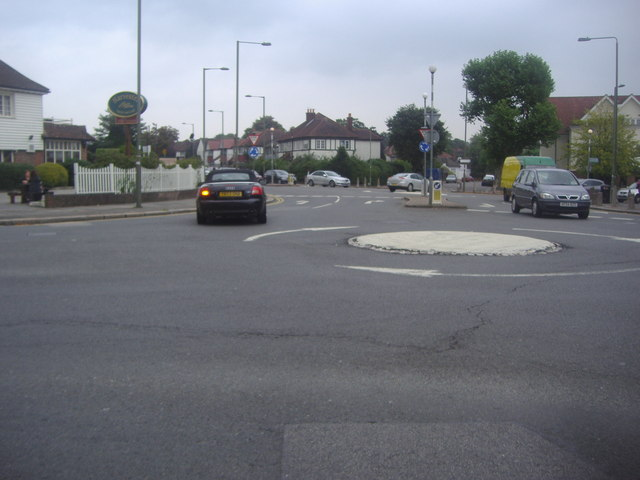 Roundabout at the end of Hale Lane