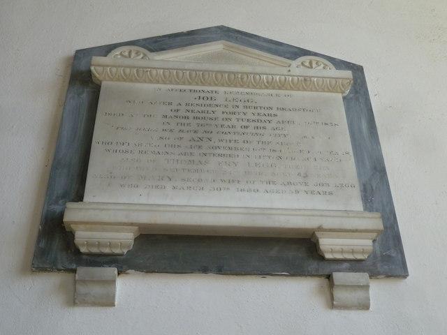 St Mary, Burton Bradstock: memorial (III)