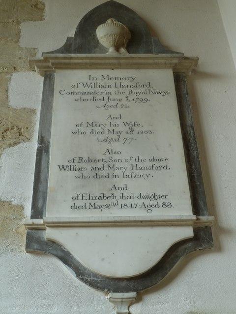 St Mary, Burton Bradstock: memorial (XII)
