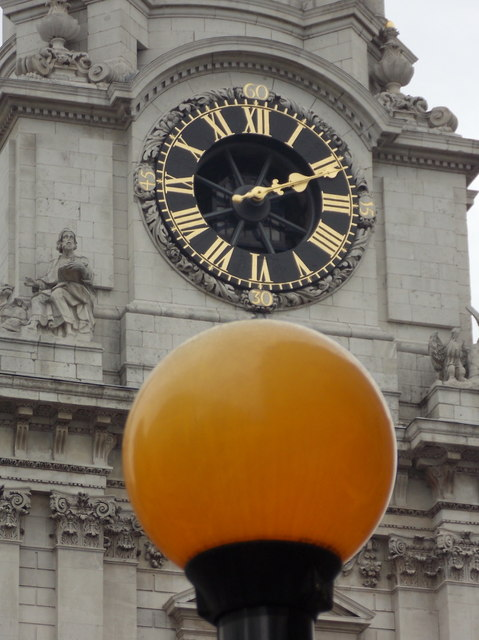 City of London: a Belisha beacon and cathedral clock