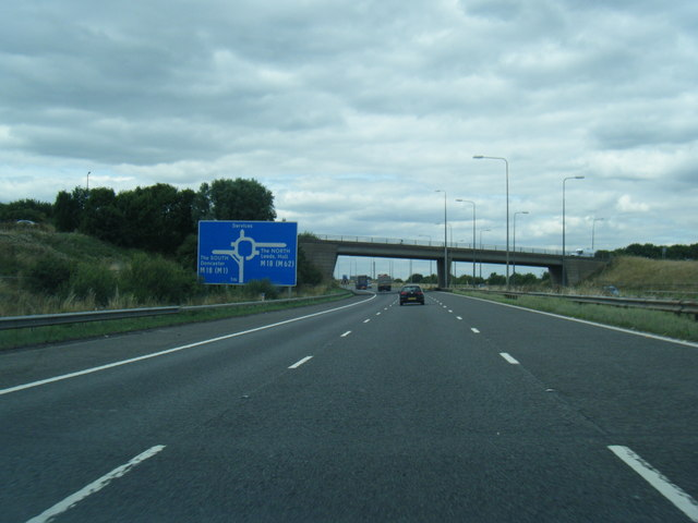 M180 nears Tudworth Road overbridge
