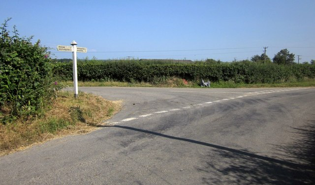 Road junction by The Long Stone
