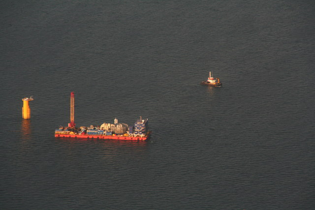 Lynn and Inner Dowsing Wind Farm under construction: aerial 2012