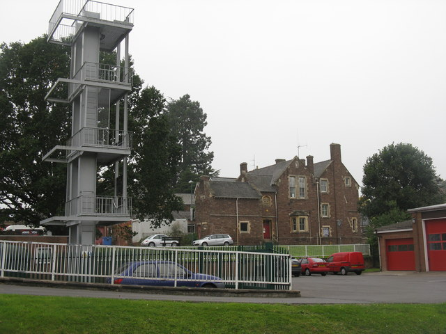 Fire station yard and tower