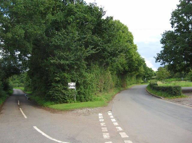 Road junction near Worfield Village Hall, Shrops