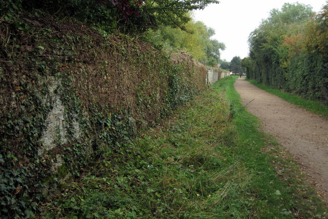 Priory wall by the path