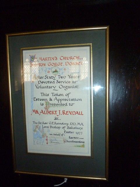 Saint Martin, Shipton Gorge: tribute to a long serving organist