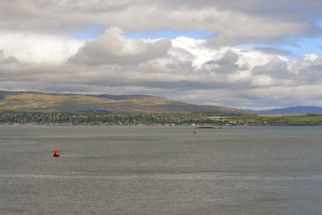 View across the Firth of Clyde to the MV Captayannis and Helensburgh, from P&O's Adonia docked at Greenock - 1