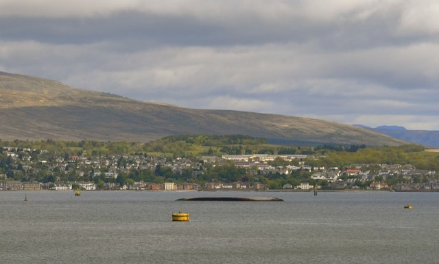 View across the Firth of Clyde to the MV Captayannis and Helensburgh, from P&O's Adonia docked at Greenock - 2