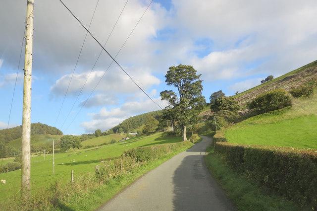 Lane leaving Llanarmon Dyffryn Ceiriog to the east