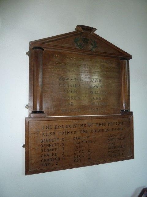 St. George, Hooke: war memorial