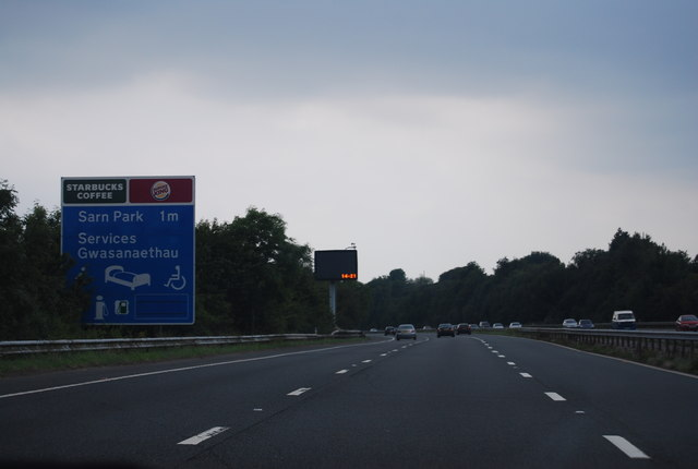 1 mile to Sarn Services, M4