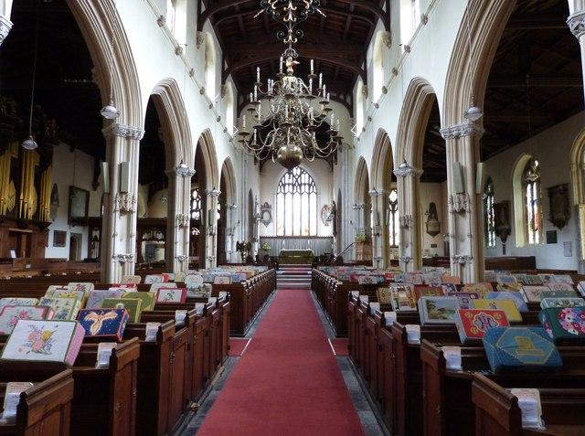Interior of St Peter's church, Tiverton, Devon