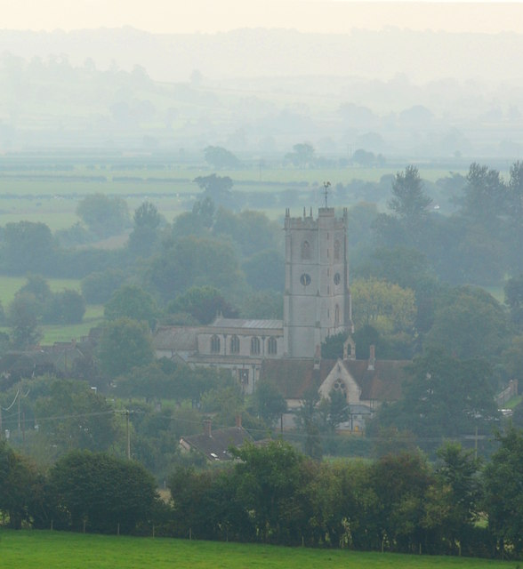 Schoolhouse and Church in the morning mist, Queen Camel, Somerset
