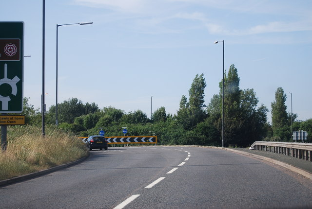 Roundabout at the end of the Chichester bypass