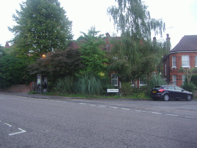 Exeter Road at the junction of St Gabriels Road