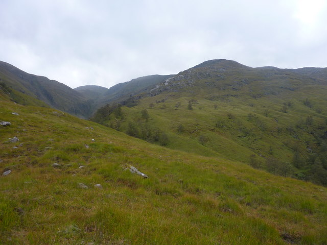 Looking up the valley of Am Fas-allt