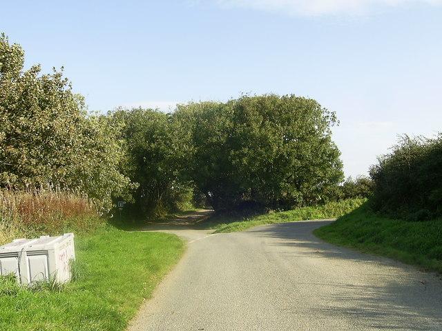 No Through Road near Llys-y-defaid