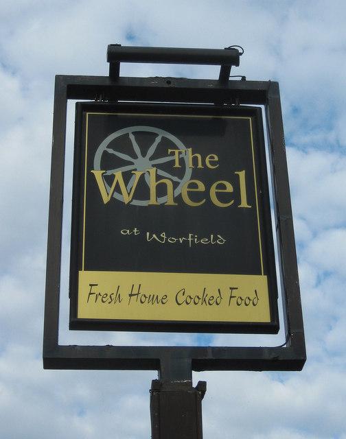 The Wheel at Worfield (2) - sign, near Wyken, Shrops