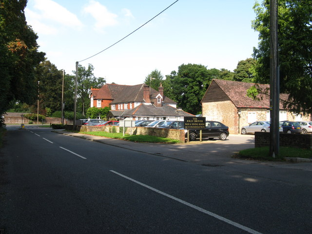 The Jolly Drover and car park at Hill Brow