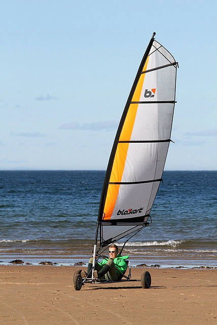 Blokarting at Belhaven Beach, Dunbar