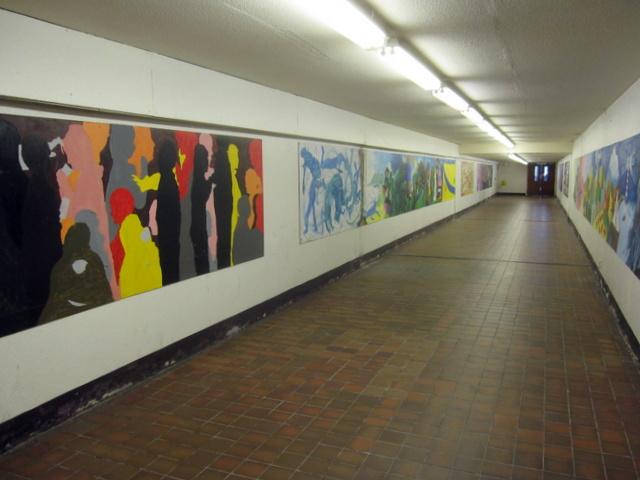 Artwork in Clwyd Theatr Cymru subway