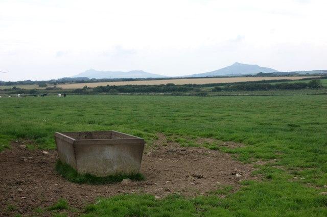 Concrete water trough near Treglemais