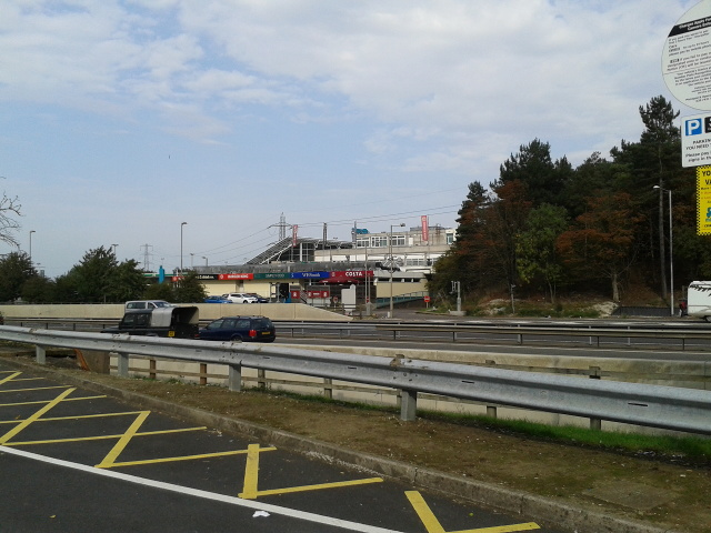 Looking across the M1 at the south-bound Toddington Services, from the north-bound services car park