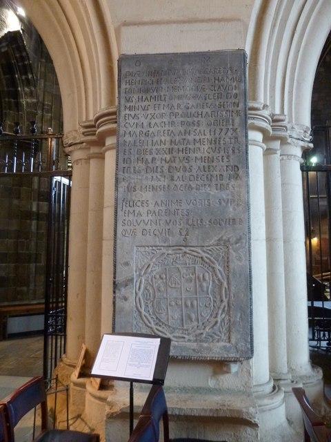 Paisley Abbey: the Hamilton Memorial Tablet