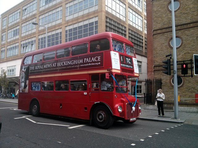 London Routemaster Bus, in Fulham Road, Chelsea