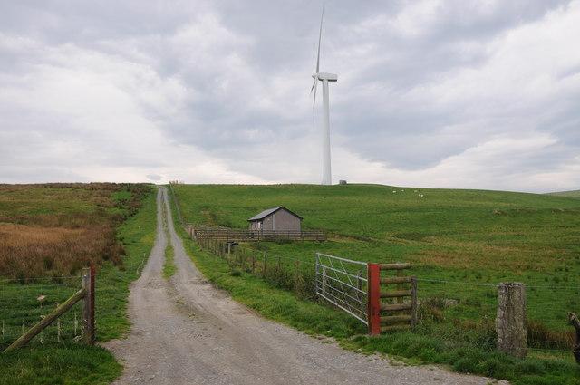 Wind turbine on Mynydd Glogau windfarm