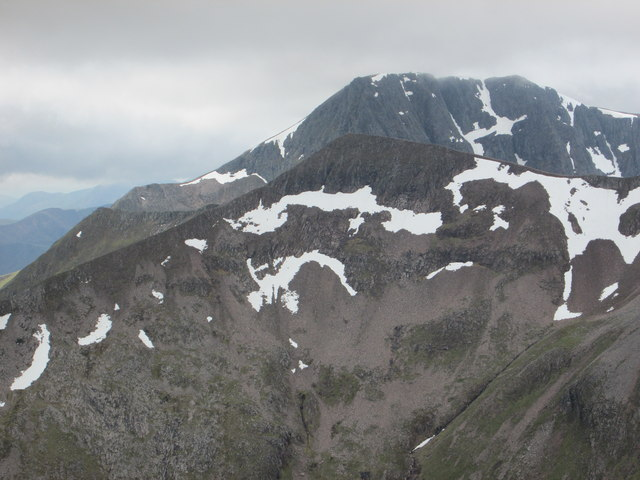 Snow patches on Carn Mòr Dearg and Ben Nevis
