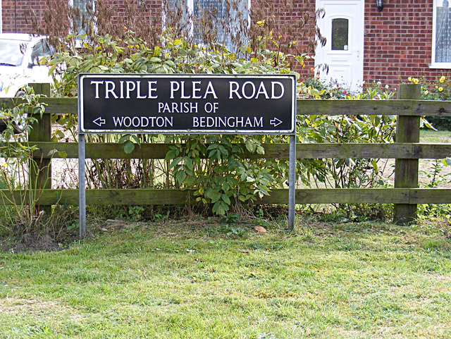 Triple Plea Road sign