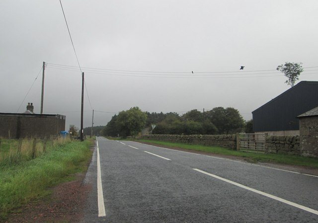 The B7016 heading north at Bankead Farm