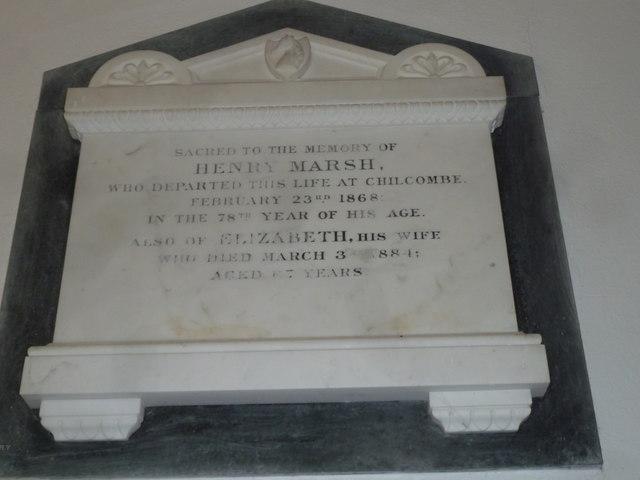 Chilcombe Church: memorial (I)
