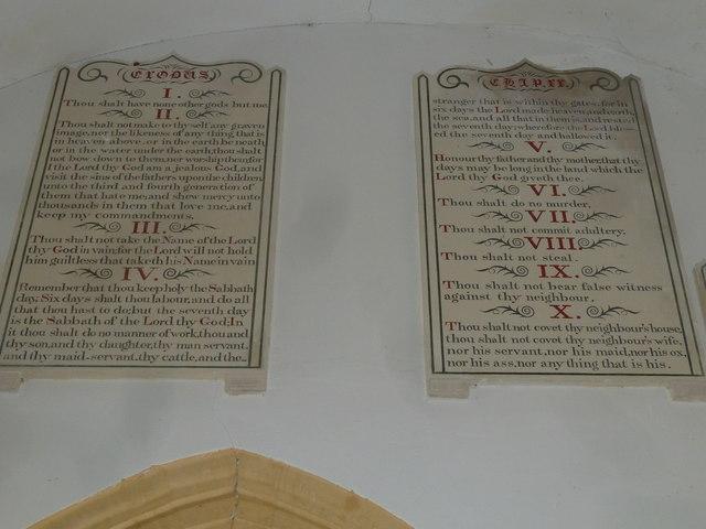 Chilcombe Church: The Ten Commandments